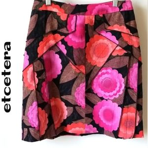 Etcetera floral skirt 100% Ramie Layered fabric